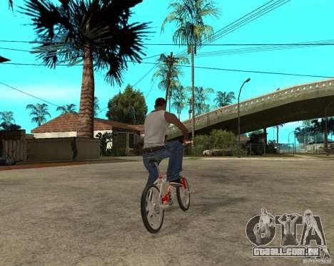 Skyway BMX para GTA San Andreas traseira esquerda vista