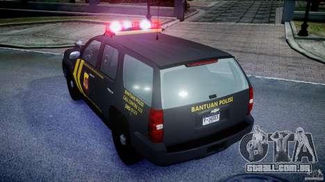 Chevrolet Tahoe Indonesia Police para GTA 4 vista de volta
