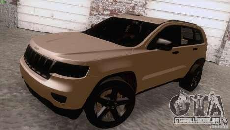 Jeep Grand Cherokee 2012 para GTA San Andreas traseira esquerda vista