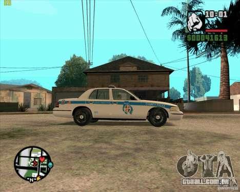 Ford Crown Victoria Baltmore County Police para GTA San Andreas traseira esquerda vista