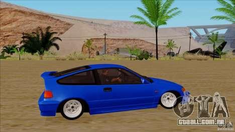 Honda CRX Hella Flush para GTA San Andreas vista traseira
