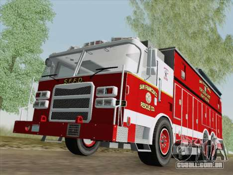 Pierce Walk-in SFFD Heavy Rescue para GTA San Andreas esquerda vista