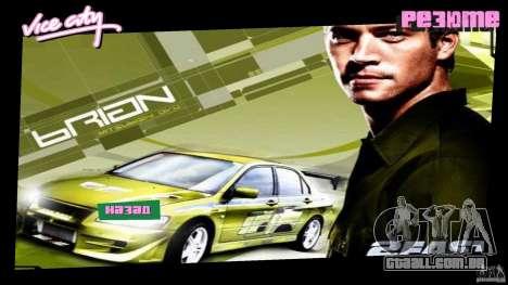 2 Fast 2 Furious Menu Brian para GTA Vice City segunda tela