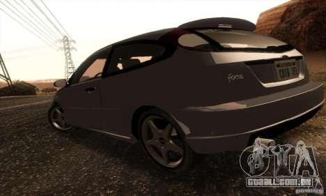Ford Focus SVT TUNEABLE para GTA San Andreas traseira esquerda vista