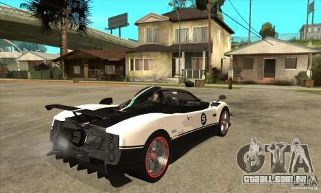 Pagani Zonda Cinque Roadster para GTA San Andreas vista direita