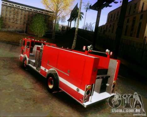 Pumper Firetruck Los Angeles Fire Dept para GTA San Andreas esquerda vista
