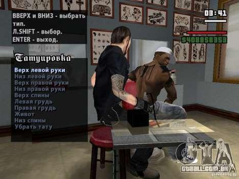 Novas tatuagens para GTA San Andreas por diante tela