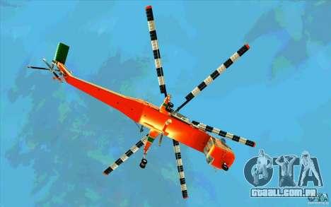 Sikorsky Air-Crane S-64E para GTA San Andreas vista traseira