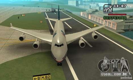 Aeronave do GTA 4 Boeing 747 para GTA San Andreas traseira esquerda vista