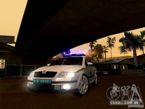 Polícia de trânsito ucraniano Skoda Octavia II para GTA San Andreas traseira esquerda vista