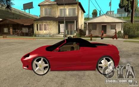 Ferrari 360 Spider para GTA San Andreas esquerda vista