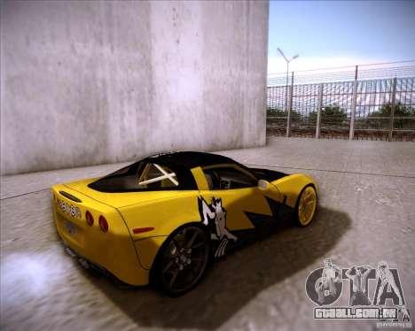 Chevrolet Corvette C6 super promotion para GTA San Andreas traseira esquerda vista