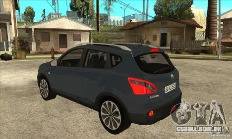 Nissan Qashqai 2011 para GTA San Andreas traseira esquerda vista