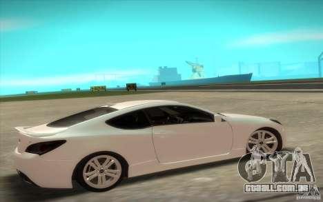 Hyundai Genesis 3.8 Coupe para GTA San Andreas traseira esquerda vista