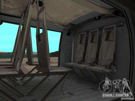 O helicóptero de CoD 4 MW para GTA San Andreas traseira esquerda vista