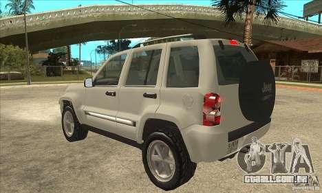 Jeep Liberty 2007 Final para GTA San Andreas traseira esquerda vista