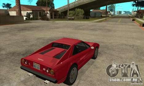 Ferrari 308 GTS Quattrovalvole para GTA San Andreas vista direita