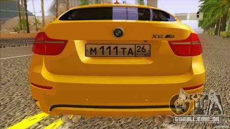 BMW X6M E71 v2 para GTA San Andreas vista traseira