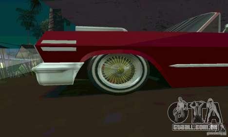 Chevrolet Impala 1963 Lowrider Charged para GTA San Andreas esquerda vista