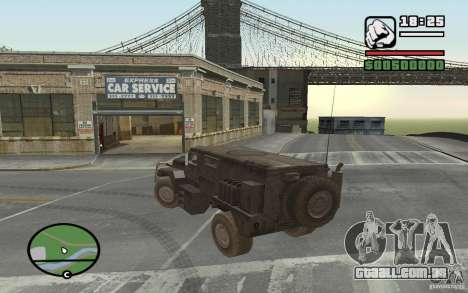 Caminhão militar para GTA San Andreas traseira esquerda vista