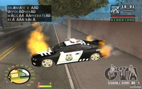 Carro em chamas no GTA 4 para GTA San Andreas segunda tela