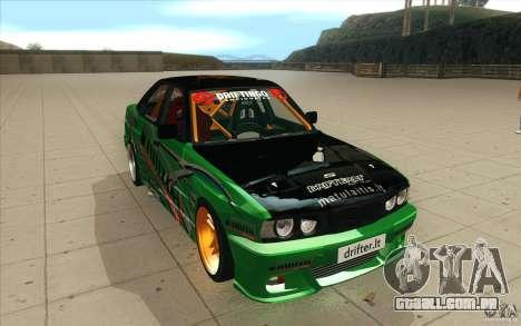 BMW E34 V8 Wide Body para GTA San Andreas vista traseira