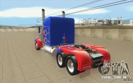 Peterbilt 379 Optimus Prime para GTA San Andreas traseira esquerda vista