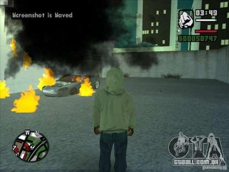Fumaça saindo debaixo das rodas, como no NFS Pro para GTA San Andreas por diante tela