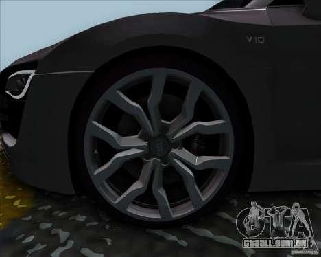 Audi R8 Spyder para GTA San Andreas traseira esquerda vista
