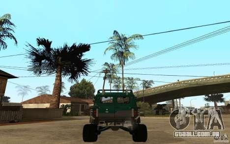 Pão de UAZ de difícil Off-Road para GTA San Andreas traseira esquerda vista