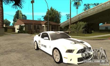 Ford Shelby GT 500 2010 para GTA San Andreas vista traseira