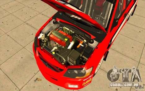 Mitsubishi Lancer Evo IX DiRT2 para GTA San Andreas vista superior