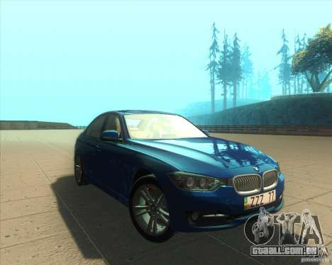 BMW 3 Series F30 2012 para GTA San Andreas vista traseira