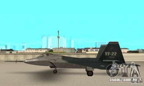 YF-22 Standart para GTA San Andreas esquerda vista