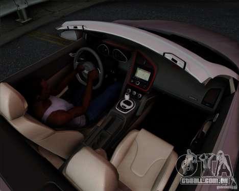 Audi R8 Spyder para GTA San Andreas vista interior