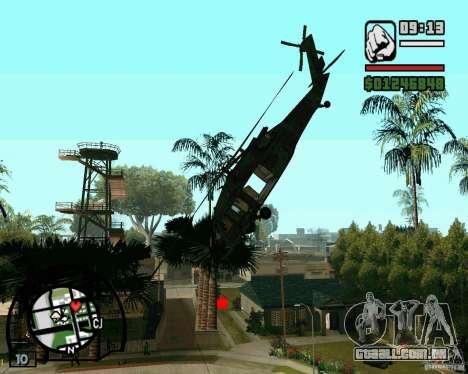 Blackhawk UH60 Heli para GTA San Andreas esquerda vista