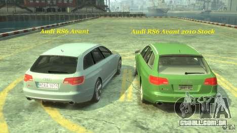 Audi RS6 Avant 2010 Stock para GTA 4 interior