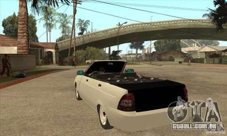 VAZ LADA Priora conversível para GTA San Andreas traseira esquerda vista