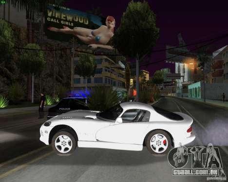Dodge Viper para GTA San Andreas traseira esquerda vista