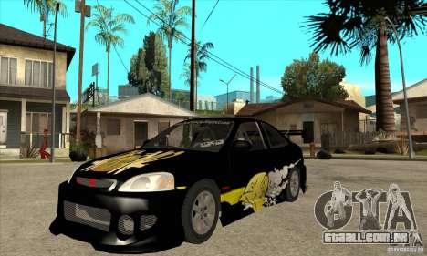 Honda Civic Tuning Tunable para GTA San Andreas esquerda vista