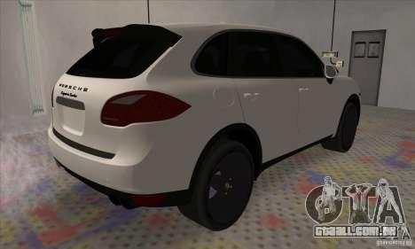 Porsche Cayenne Turbo Black Edition para GTA San Andreas traseira esquerda vista