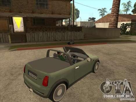Mini Cooper S Cabrio para GTA San Andreas vista traseira