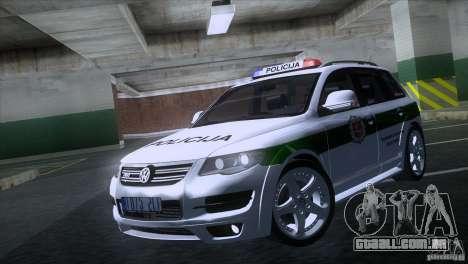 Volkswagen Touareg Policija para GTA San Andreas esquerda vista