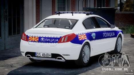 Peugeot 508 Macedonian Police [ELS] para GTA 4 traseira esquerda vista