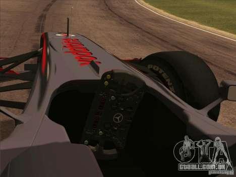 McLaren MP4-25 F1 para GTA San Andreas vista direita