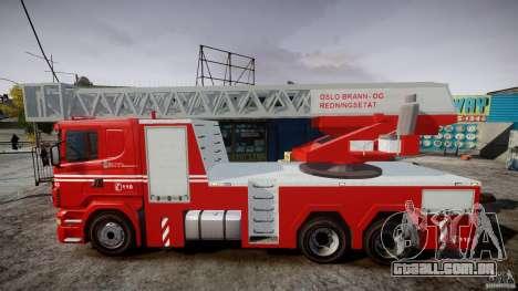 Scania Fire Ladder v1.1 Emerglights red [ELS] para GTA 4 esquerda vista