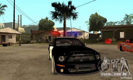 Shelby GT500KR Edition POLICE para GTA San Andreas vista traseira