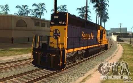 Locomotiva SD 40 Santa Fe azul/amarelo para GTA San Andreas traseira esquerda vista