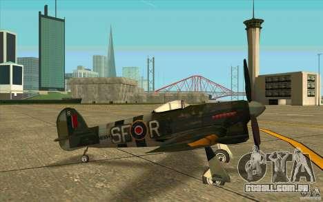 Hawker Typhoon para GTA San Andreas traseira esquerda vista