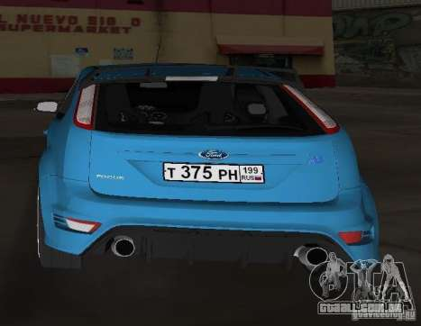 Ford Focus RS 2009 para GTA Vice City vista traseira esquerda